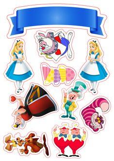 Disney alice in wonderland party printable Alice In Wonderland Clipart, Alice In Wonderland Birthday, Alice In Wonderland Printables, Scrapbook Da Disney, Theme Mickey, Mad Hatter Tea, Cat Stickers, Aesthetic Stickers, Copics