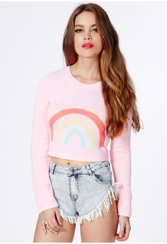 Summer Cropped Jumper With Rainbow Print - Knitwear - Jumper - Missguided