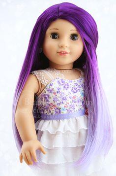 Amethyst Purple Ombre Elegance Doll Wig for Custom American Girl Dolls: Beautifully Custom Exclusive