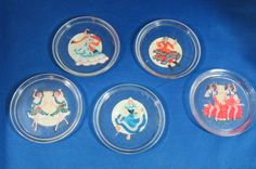 Set 5 Vintage Glass Coasters Different Ethnic Dancers, 1940's-50's, Free Ship
