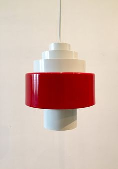 Danish vintage white and red lacquered metal pendant by Deerstedt