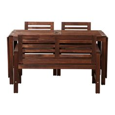 ÄPPLARÖ Tafel, bank en 2 armleunstoelen IKEA De tafel kan worden verlengd zodat er meer mensen aan kunnen zitten.
