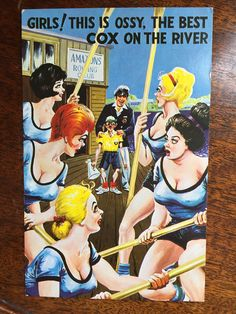Vintage NAUGHTY Saucy Funny Comic British Humor Post Card - Girls! This is Ossy... Vintage Labels, Vintage Postcards, British Humor, Cox And Cox, Lazy Sunday, Post Card, Funny Comics, Great Britain, Vintage Advertisements