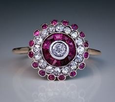 Antique Russian Ruby Diamond Cluster Ring | From a unique collection of vintage cluster rings at http://www.1stdibs.com/jewelry/rings/cluster-rings/