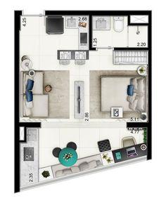 1 Dormitório - 34m² - 1 vaga