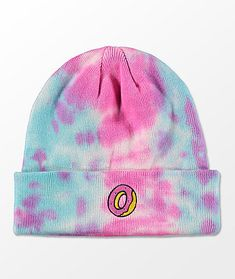 f19c716594de62 Odd Future Pink & Blue Tie Dye Cuff Beanie Pink Beanies, Cute Beanies,