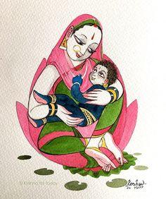 Shri Ram in lap of ma kaushalya Krishna Painting, Madhubani Painting, Krishna Art, Rajasthani Painting, Indian Illustration, Composition Art, Art Painting Gallery, Indian Folk Art, Indian Art Paintings