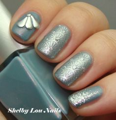 Grandma Chic: Stamping over Rescue Beauty Lounge Reveillon, stamping with MoYou London sailor 05, glitter accents of a-england Merlin.