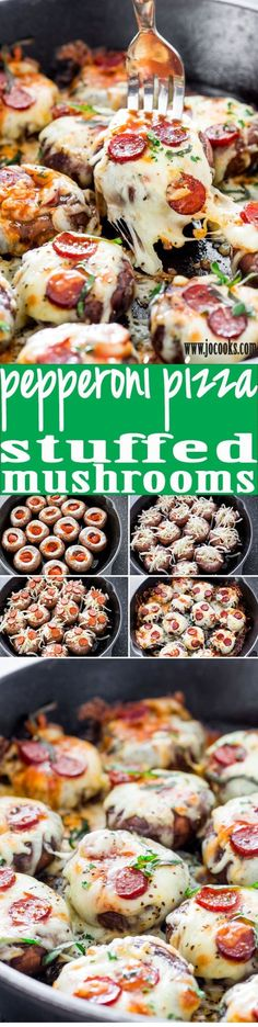These Pepperoni Pizza Stuffed Mushrooms are so easy and quick to prepare. They make for the perfect appetizer or snack, it's like eating pizza without all those carbs. by dana