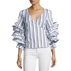 Caroline Constas Athena Striped Ruffle-Sleeve Wrap Blouse (5.257.450 IDR) ❤ liked on Polyvore featuring tops, blouses, multi, striped shirt, v neck shirt, slim fit shirts, v-neck shirt and stripe shirt
