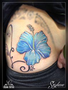 blue hibiscus tattoo designs, i loooovvvvveeee it!!!!!! | tattoos