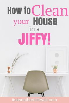Need to clean your house fast? Follow these steps to clean your home in a jiffy. Clean the entire house in a little over an hour. Don't feel overwhelmed by cleaning again. #cleanyourhomefast #cleaninajiffy