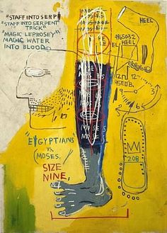 """""""Early Moses"""" (1983), by Jean-Michel Basquiat. Acrylic and oil chalk on canvas. The 1996 film """"Basquiat"""" (by Julian Schnabel) tells the story of the meteoric rise of youthful graffiti artist Jean-Michel Basquiat. He OD'ed at 27."""