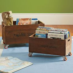 Rolling storage bins for extra books