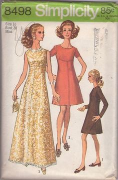 MOMSPatterns Vintage Sewing Patterns - Simplicity 8498 Vintage 60's Sewing Pattern TOTAL GLAM Mod Shaped Empire Waist Fit & Flared Party Dress, Red Carpet Sequin Trim Maxi Gown Size 16