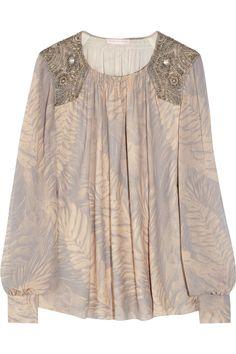 matthew williamson embellished silk-georgette blouse
