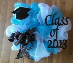 Graduation Wreath - but with purple, gold, and black
