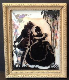 Small Vintage Antique Reverse Painting Glass Silhouette Frame Cottage Couple Silhouette Cameo, Silhouette Painting, Vintage Silhouette, Silhouette Pictures, Old Paintings, Pen Art, Art Furniture, Colored Paper, Photo Displays