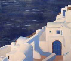 Grecia blu - olio su tela fatta a mano - 1998 - 53x45