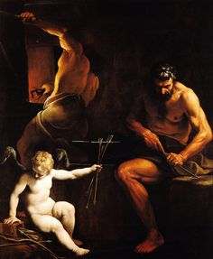 Alessandro Tiarini (1577 - 1668) - Vulcan making arrows for Cupid, circa 1620-25