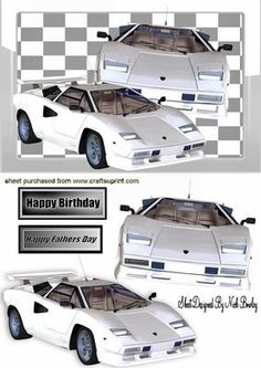 WHITE FERRARI CARS IN GLASS FRAME on Craftsuprint - Add To Basket!