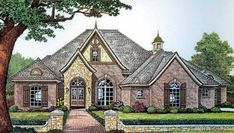 English Country Style House Plans - 2639 Square Foot Home , 1 Story, 3 Bedroom and 2 Bath, 3 Garage Stalls by Monster House Plans - Plan 8-400