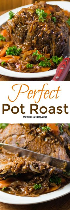 Perfect Pot Roast by Noshing With the Nolands is full of flavor and braised to mouthwatering perfection. An excellent choice for Sunday dinner!