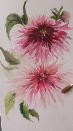 Watercolor Art Lessons, Watercolor Paintings For Beginners, Watercolor Artwork, Watercolor Techniques, Floral Watercolor, Watercolor Pictures, Watercolor Pencils, Illustration Blume, Watercolor Illustration