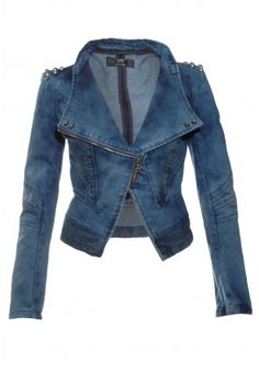 Denim Stud Jacket - Jackets and Coats - Clothing