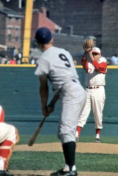 October 7, 1961 at Crosley Field: Bob Purkey pitching to Roger Maris during the 1961 World Series. Maris later homer in the 9th for the win.
