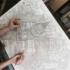 Marvelous Home Design Architectural Drawing Ideas. Spectacular Home Design Architectural Drawing Ideas. 3d Drawings, Drawing Sketches, Sketching, Sketch Art, Perspective Drawing, Architecture Drawings, Drawing Techniques, Drawing People, Drawing Reference