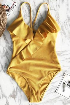 CUPSHE Happy Ending Yellow Solid One-piece Swimsuit Falbala V neck Ruffle Sexy Monokini 2019 Ladies Beach Bathing Suit Swimwear Ruffle Swimsuit, Swimsuit Cover Ups, One Piece Swimsuit, Bikini Sets, Bikini Babes, Sexy Bikini, Bikini 2018, Bikini Beach, Monokini
