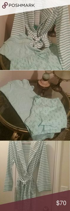 NWOT Pajama Set with Cute Bathrobe Brand New pajama top, bottom and hooded robe. Great gift idea. Purchased from Dillards. NWOT.  **FREE GIFT WITH ORDER.   Visit my closet for other cute items. jasmine ginger Intimates & Sleepwear Pajamas