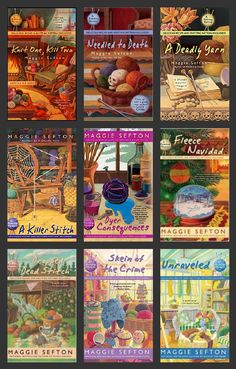 Maggie Sefton's Knitting Mystery Series featuring Kelly Flynn.  1. Knit One, Kill Two  2. Needled to Death  3. A Deadly Yarn  4. A Killer Stitch  5.Dyer Consequences             6. Fleece Navidad  7. Dropped Dead Stitch  8. Skein of the Crime  9. Unraveled  10.Cast On, Kill Off
