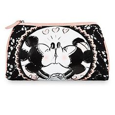 Mickey and Minnie share a sweet kiss and help keep your makeup must-haves ready to go in this gorgeous lace trim pouch, an exclusive from our Disney Boutique Collection.
