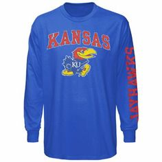 Kansas Jayhawks Big Arch & Logo Long Sleeve T-Shirt - Royal Blue- medium