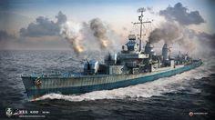 USS Kidd, Fletcher-class destroyer. A render by World of Warships