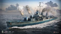 USS Kidd, Fletcher-class destroyer. A render by World of Warships