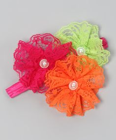 Take a look at this Fuchsia & Orange Lace Flower Headband on zulily today!