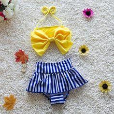 2016 new baby bow striped Swimsuit Tankini cute Swimwear