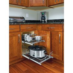 Maximize storage and stay organized with these medium, two-tier chrome wire cabinet-mount baskets. The baskets feature heavy-gauge wire construction, and bottom, side and rear mounting for total stability.