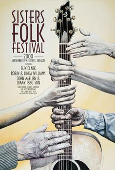Art and Music: Award-winning illustrations, graphic design, and songwriting out of Sisters, Oregon. Cd Design, Folk Festival, Festival Posters, Over The Years, Sisters, Music, Guitar, Hands, Artists