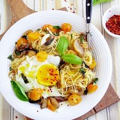 Angel Hair Pasta with Mushroom, Basil and Fried Egg: my sunshine lunch.
