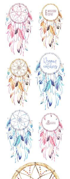Dreamcatchers. Watercolor Clipart. Tribal feathers by OctopusArtis