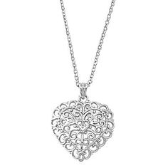 Filigree Sterling Silver Heart Necklace – JaeBee Jewelry