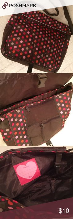 """Gap Crossbody Messenger Bag Perky polka dots on a chocolate brown!  This  retro bag has it all! Zip pockets and plenty of room! Good condition!  About 11""""L x 17""""W, 4""""D. Gap Bags Crossbody Bags"""