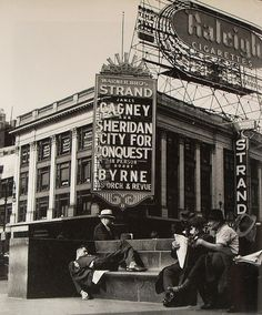 New York City 1940s | TImes Square 1940s Man Asleep by Raleigh Sign Vintage New York City
