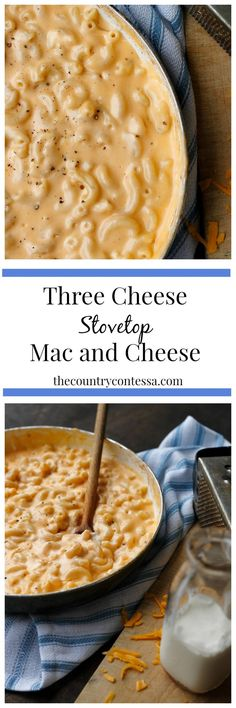 Three Cheese Stovetop Macaroni and Cheese A great family classic made richer with three cheeses and whipped up stove-top.A great family classic made richer with three cheeses and whipped up stove-top. Stovetop Mac And Cheese, Macaroni Cheese, Mac Cheese, Mac And Cheese Recipe With Cream Cheese, Creamy Mac And Cheese, Cheese Fruit, Pasta Dishes, Food Dishes, Main Dishes