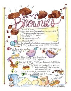 I will create a one of a kind custom illustration of your favorite recipe. You get the ORIGINAL artwork, and the option to purchase Brownie Recipes, Cake Recipes, Dessert Recipes, Dessert Design, Recipe Drawing, Food Journal, Recipe Journal, Food Drawing, Kitchen Art