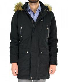 91a9be1aef60 Ανδρικό μπουφάν παρκά Inox μαύρο μακρύ 16538Q #χειμωνιατικαμπουφαναντρικα  #εκπτωσεις #προσφορες #menjacket Raincoat